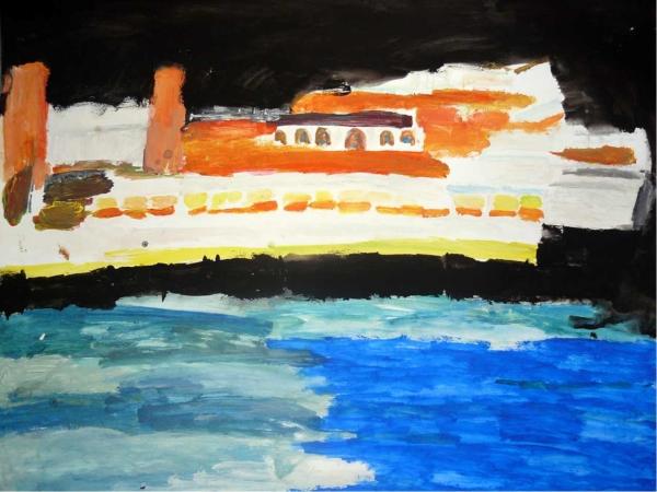 François Peeters. Titanic VII, gouache sur papier, 49,5x64,5cm, 2007
