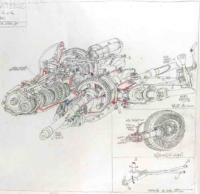 Gaël Dufrène. Boite de vitesse Fiat Panda 4x4_2005. Crayon sur papier