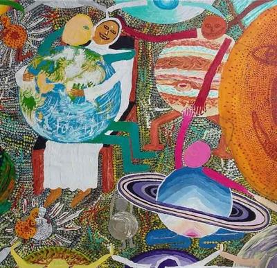 Jérôme Turpin. Série Thérapie 8. Un amour à l'échel de lunivers avec Amma - Acrylique 70x50 cm, 2010
