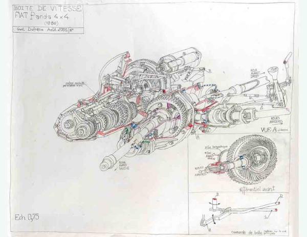Gaël Dufrène. Boîte de vitesse Fiat Panda 4x4, 2005. Crayon sur papier