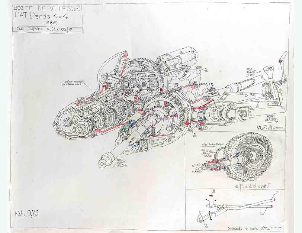 Gaël Dufrène. Boîte de vitesse Fiat Panda 4x4, 2005. Crayon sur papier. Fonds Art Sans Exclusion