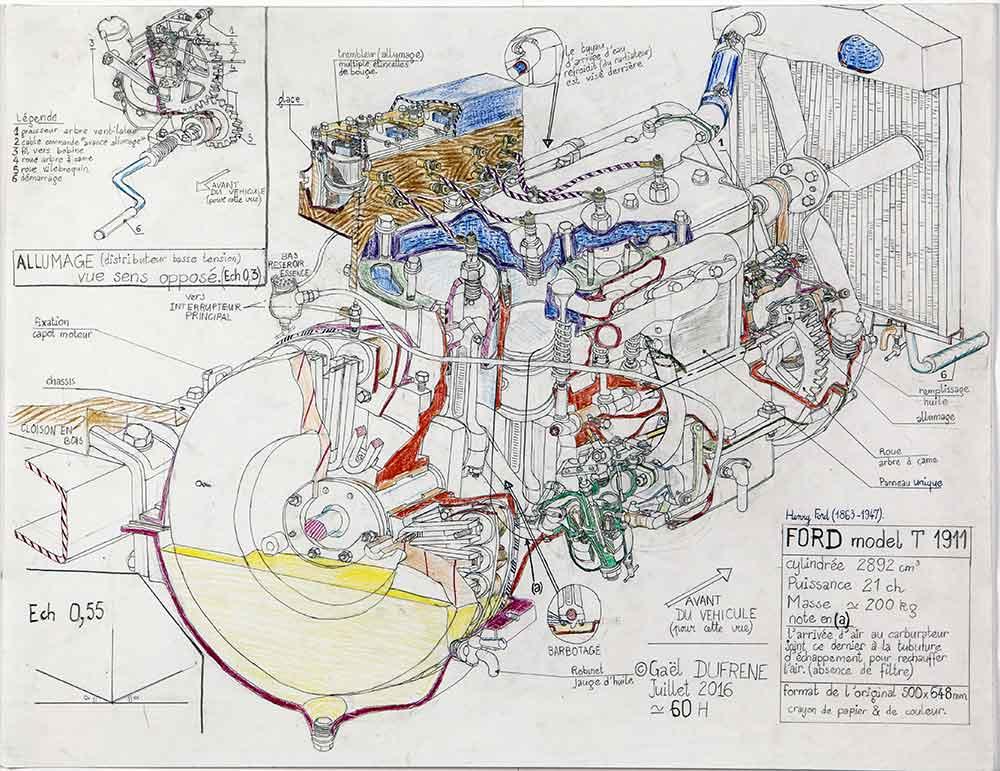 Gaël Dufrène. Ford model T-1911. 2016. Crayon sur papier. 50x64,8cm