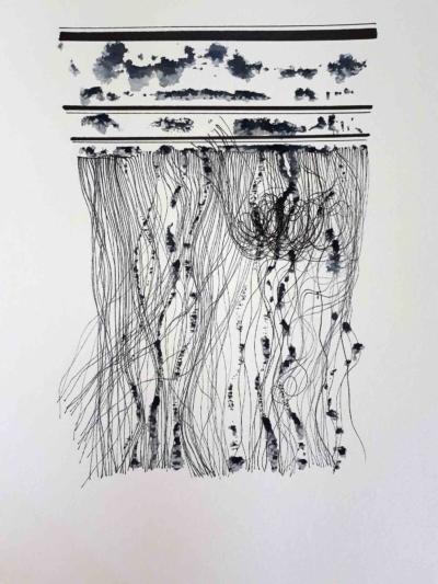 Hélène Fontana, S.T. Impression encre et feutres sur papier, 2018