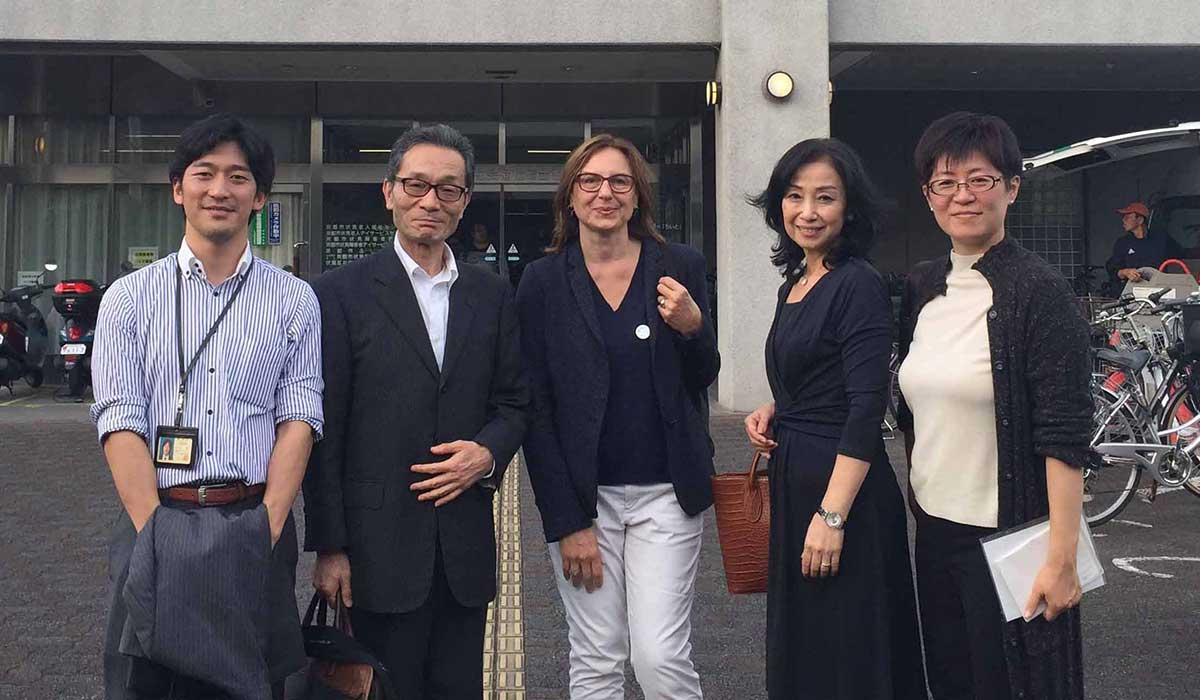 Marie Girault et l'équipe de Kyoto.