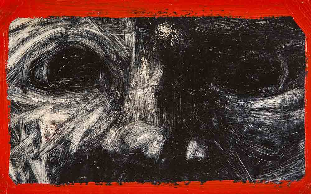 Jean-Charles Sankaré. Sans titre, huile et acryl/papier, 29,7x42cm. 2018. ©EgArt/Patrice Bouvier.