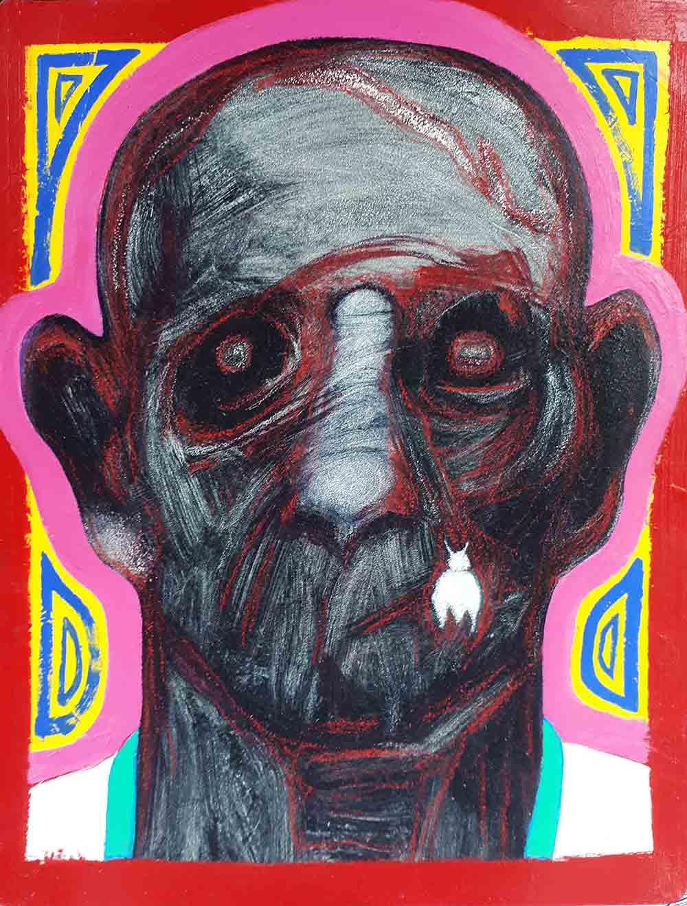Jean-Charles Sankaré. Sans titre. Huile et acryl sur papier. ©EgArt/Patrice Bouvier
