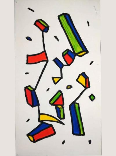 Pierre Sinet. Série sans titre, 2019, acryl sur papier