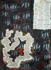 Grégoire Koutsandréou. Calendrier 2433, Pin Weymouth (pinus strobus) Roscoff, gouache sur papier, 70x50 cm, 2019. 650 euros