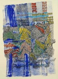 Hélène Fontana. Maillons IV. Impression, encres, feutres, aquarelle sur papier, 42x29,7 cm, 2018 (N°17). Prix : 350 euros