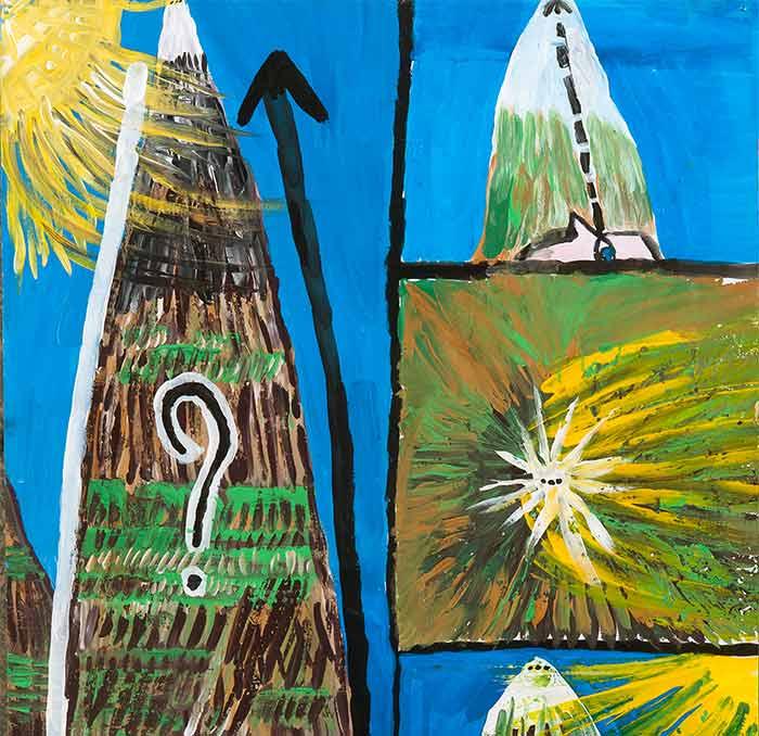 Jérôme Turpin. Entre gouffre et montagne, 2010. Acrylique sur papier © Patrice Bouvier / Jean-Charles Sankaré. Afrika II, 2017. Huile sur carton © Patrice Bouvier