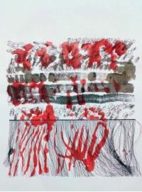 Hélène Fontana. Talit IV. Impression, encres de couleurs et feutres, 65x50 cm, 2018 (N°12). Prix : 450 euros