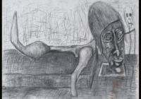 Claire Lancien. Homme sur un lit, Mine de plomb sur papier, 65x50cm, 2017-2018© EgArt/Patrice BOUVIER. 600€