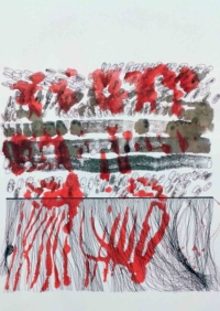 Hélène Fontana. Talit-IV, 65x50cm, impression encres de couleurs et feutres, 2018 n°12. 400€