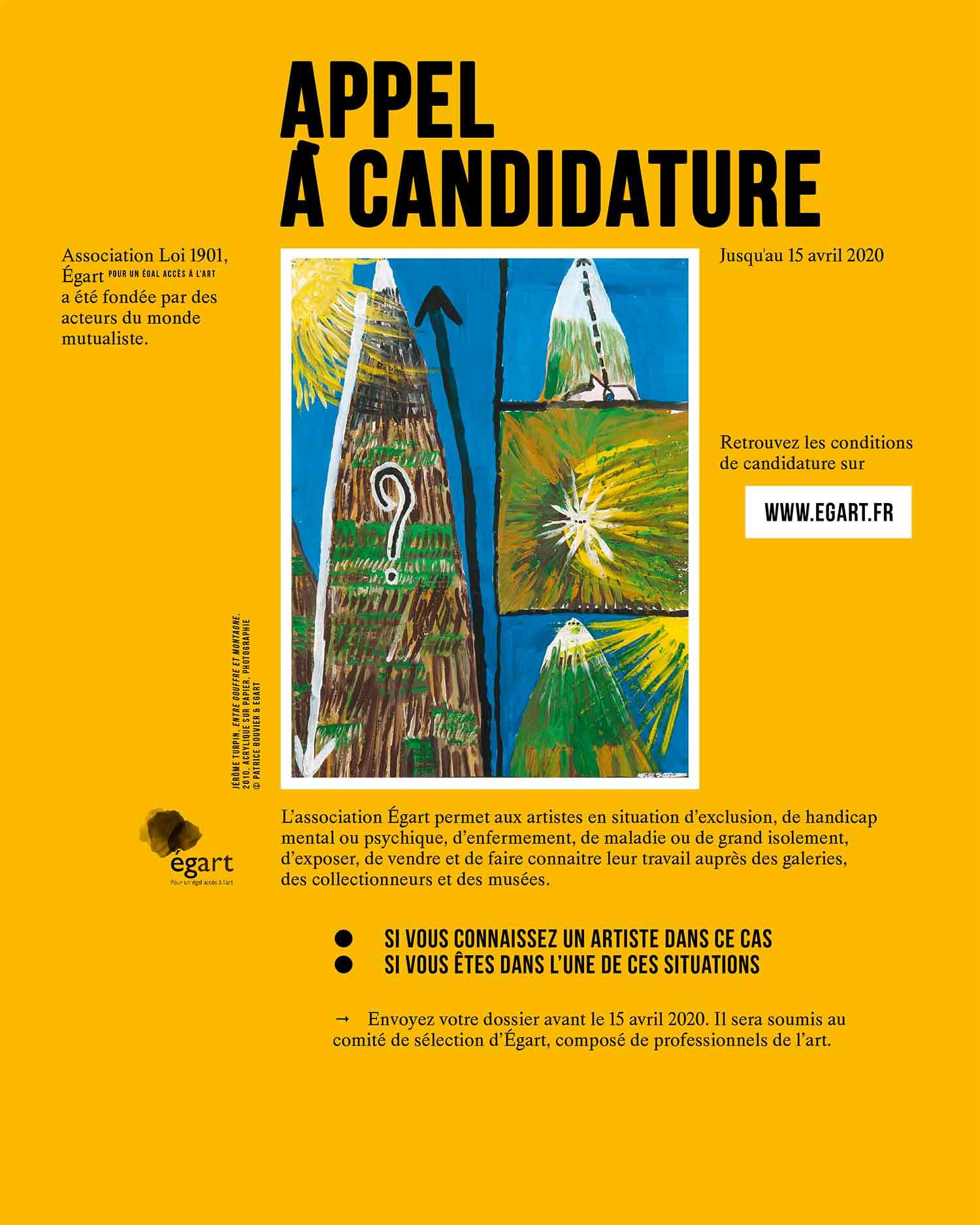 APPEL CANDIDATURES EGART 2020
