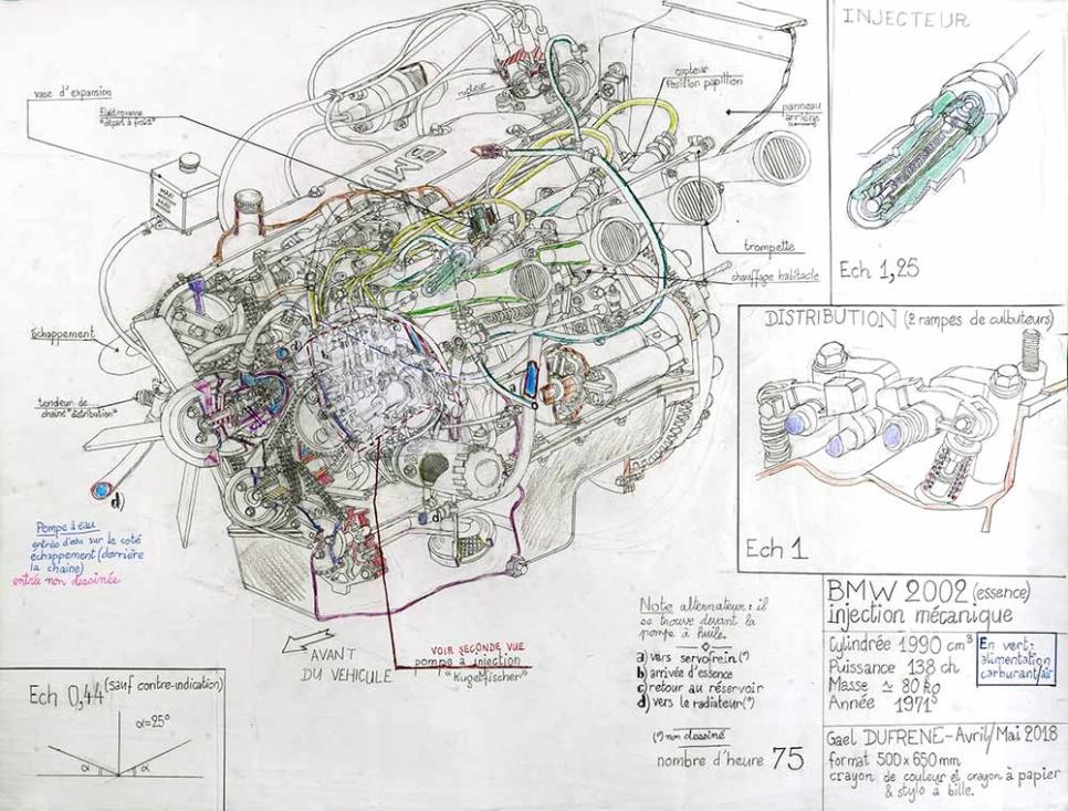 Gaël Dufrène. Moteur BMW 2002, 2018. Crayon sur papier. EgArt