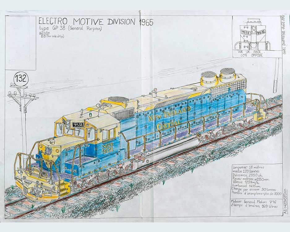 Gaël Dufrène, «Electro Motrice division 1965», Crayons sur papier, 42x57,5cm, 2012 ©P.Bouvier_EgArt.