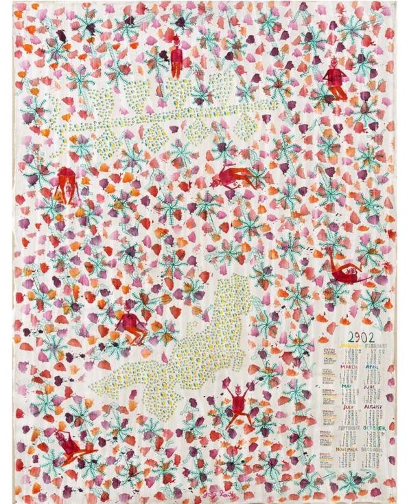 Grégoire Koutsandréou, «Calendrier 2902 Japon Honshu», 76x58cm. Acryl sur toile, 2015. ©P.Bouvier_EgArt