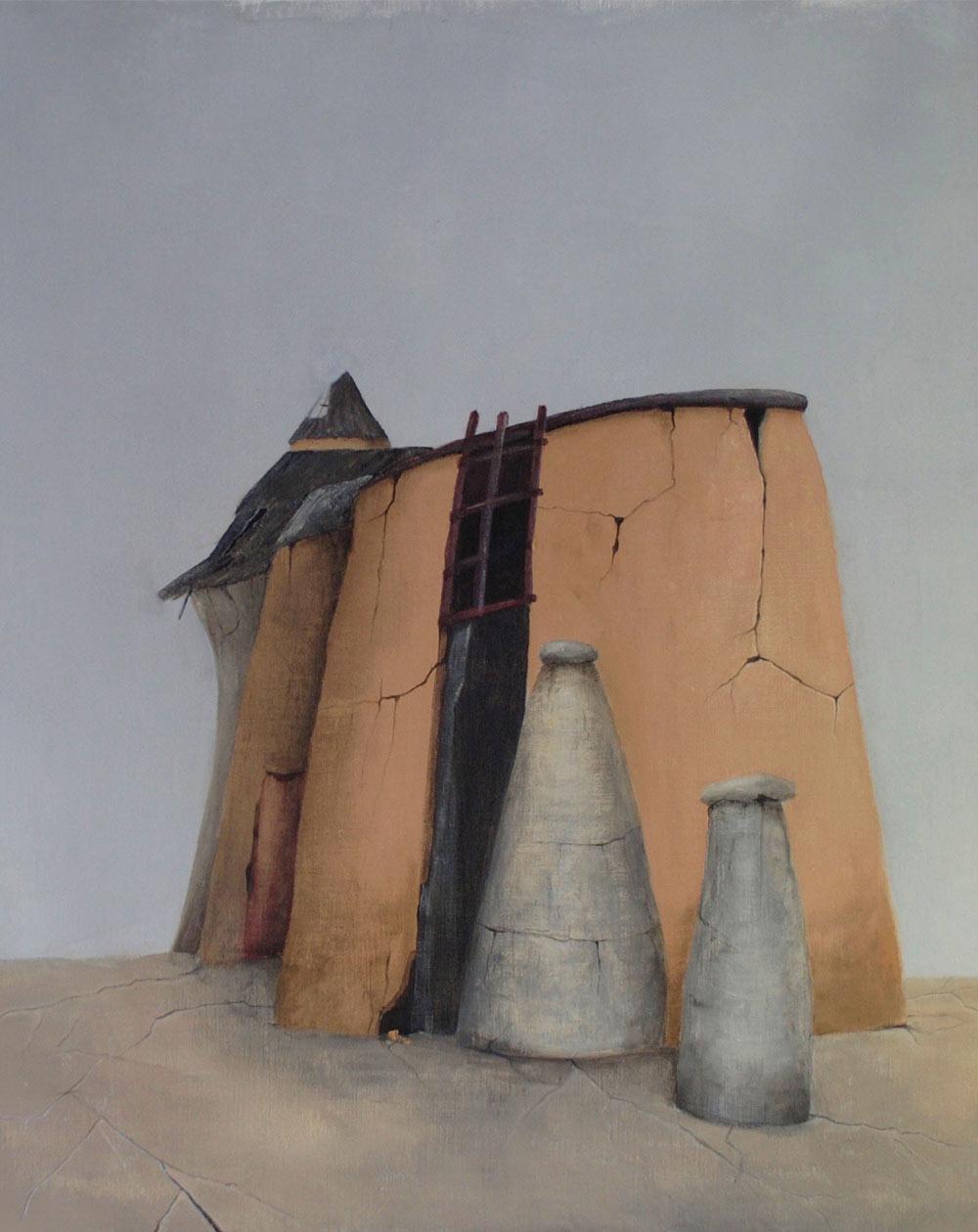 "Sonia Lawniczak. ""Au village"", 2021. Acryl sur toile, 100x81."