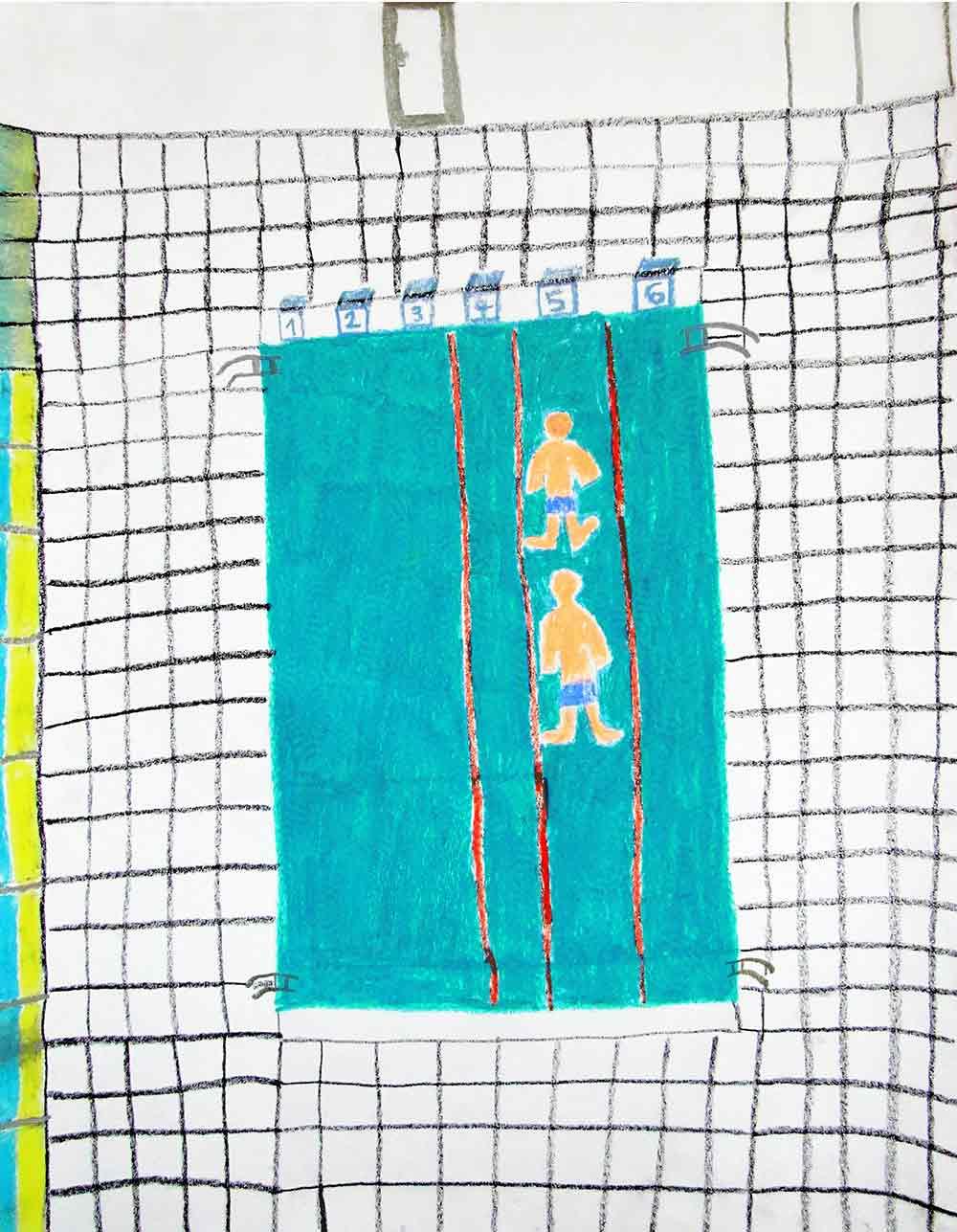 Guillaume Chocu. Piscine avec Nicolas, 2016, pastel gras. EgArt. Fonds Art Sans Exclusion