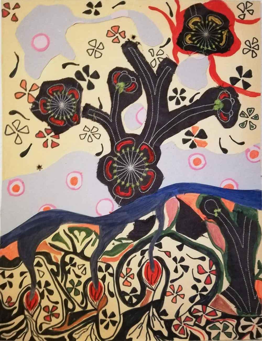 Sylvie Tinlot. Acrylique et collage sur tissu et papier. Egart