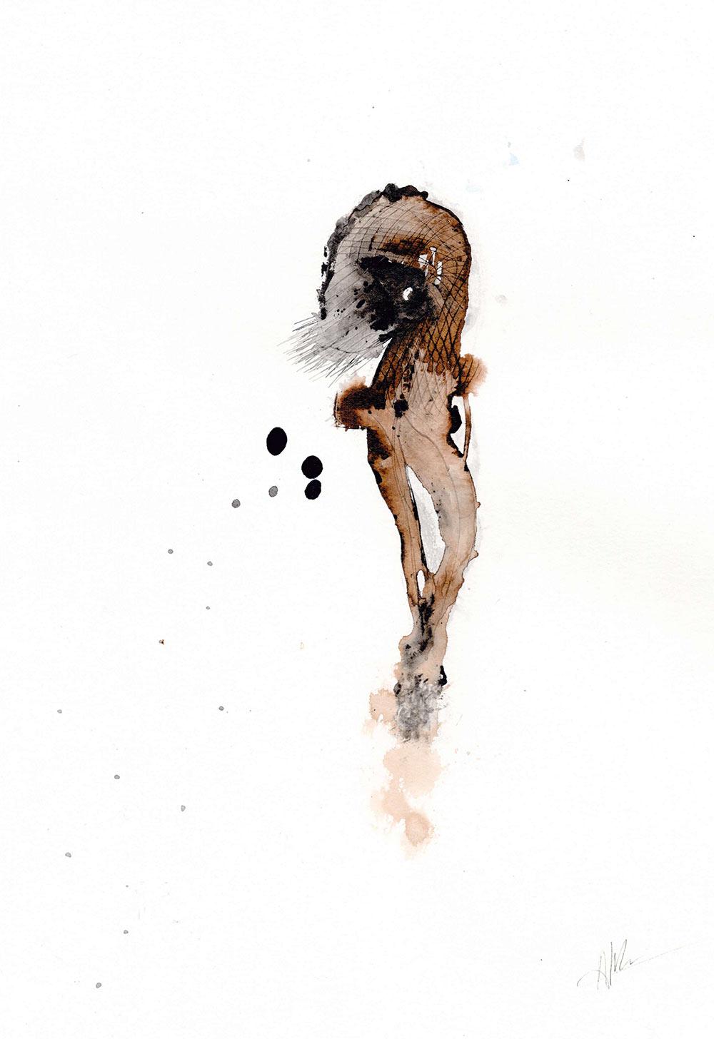 Aline Khieu. ST, 2020. Encre sur papier, 40x30cm