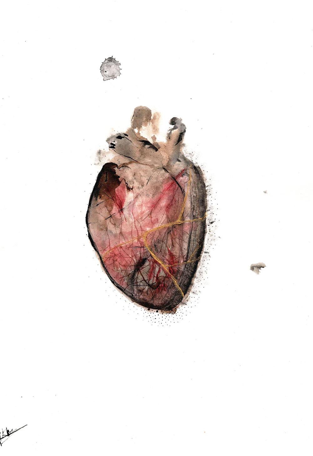 Aline Khieu. Sauver les vivants, 2020. Encre sur Papier, 40x30cm.