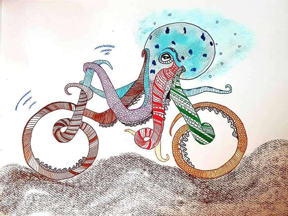Béatrice Dromas. Un drôle de vélo, 2020. Crayon et aquarelle.