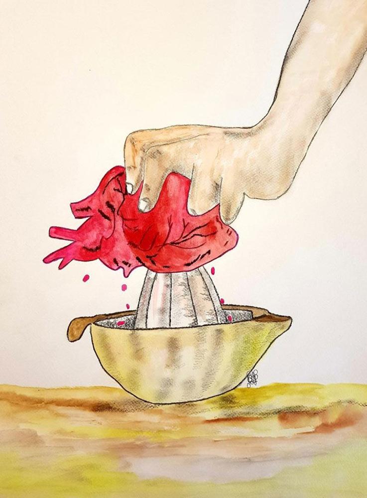 Béatrice Dromas. Coeur pressé, 2020. Crayon-et aquarelle. Fonds Art Sans Exclusion