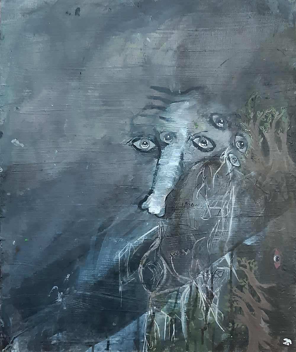Edouard Cohen. Forest, 2016. Acrylique et encre sur toile, 65x54cm.