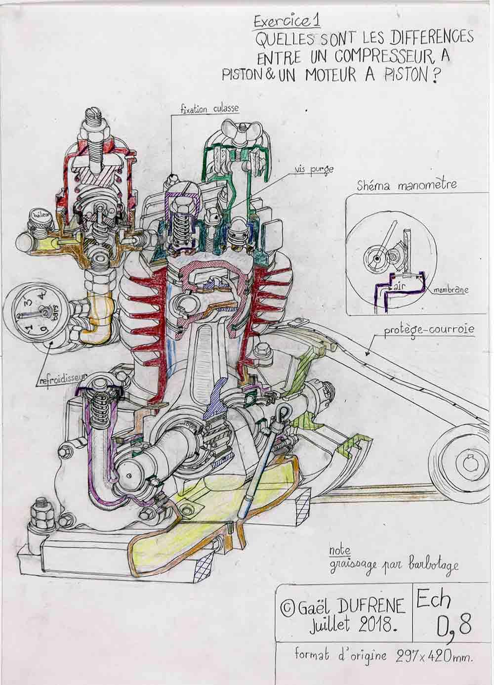Gaël Dufrene. Compresseur ou moteur à piston, 2011. Crayon sur papier, 42x29cm. FASE_EGART