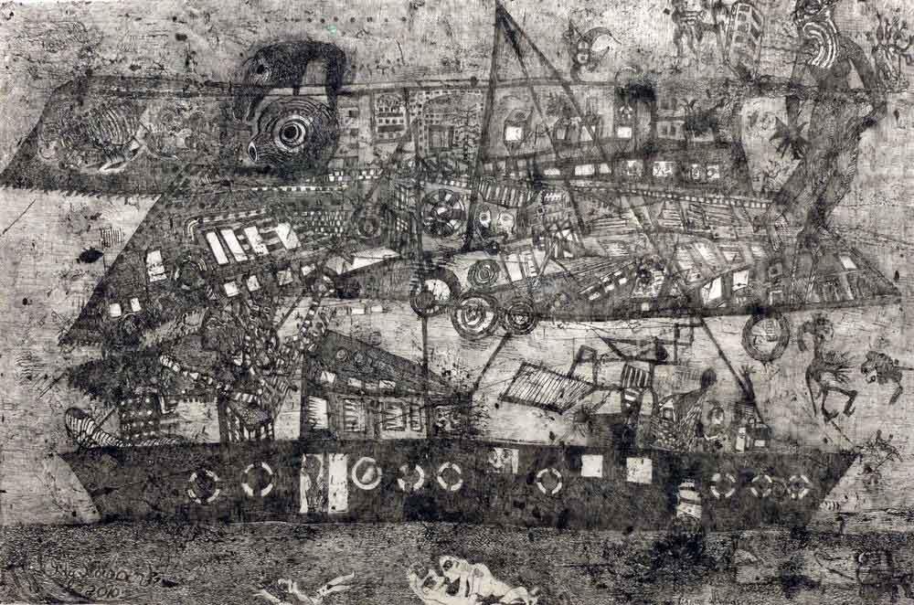 Ody Saban. Rêve dans les lignes utopiques, 2010. Encre, 63x96cm. FASE, galerie Hervé Courtaigne.