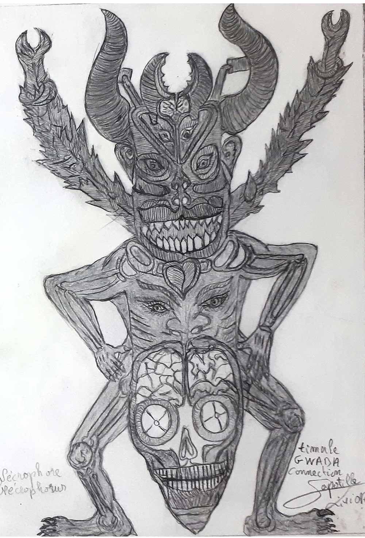 Livio Sapotille. Necrophore, 2020, crayon sur papier. Egart