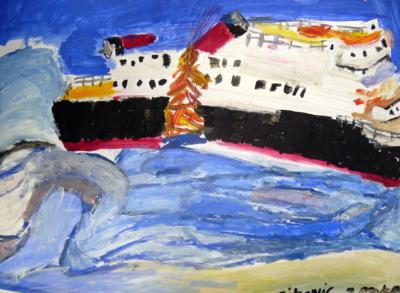 François Peeters, Série Titanic 3 - Gouache sur papier - 2007