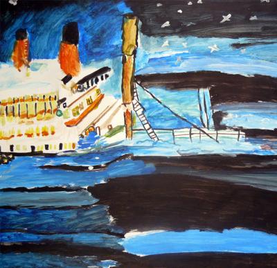 François Peeters, Série Titanic 5 - Gouache sur papier - 2007