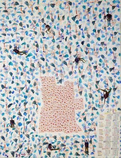 G. Koutsandréou -Angola, calendrier 2784. Acrylique s toile,78x60, 2015