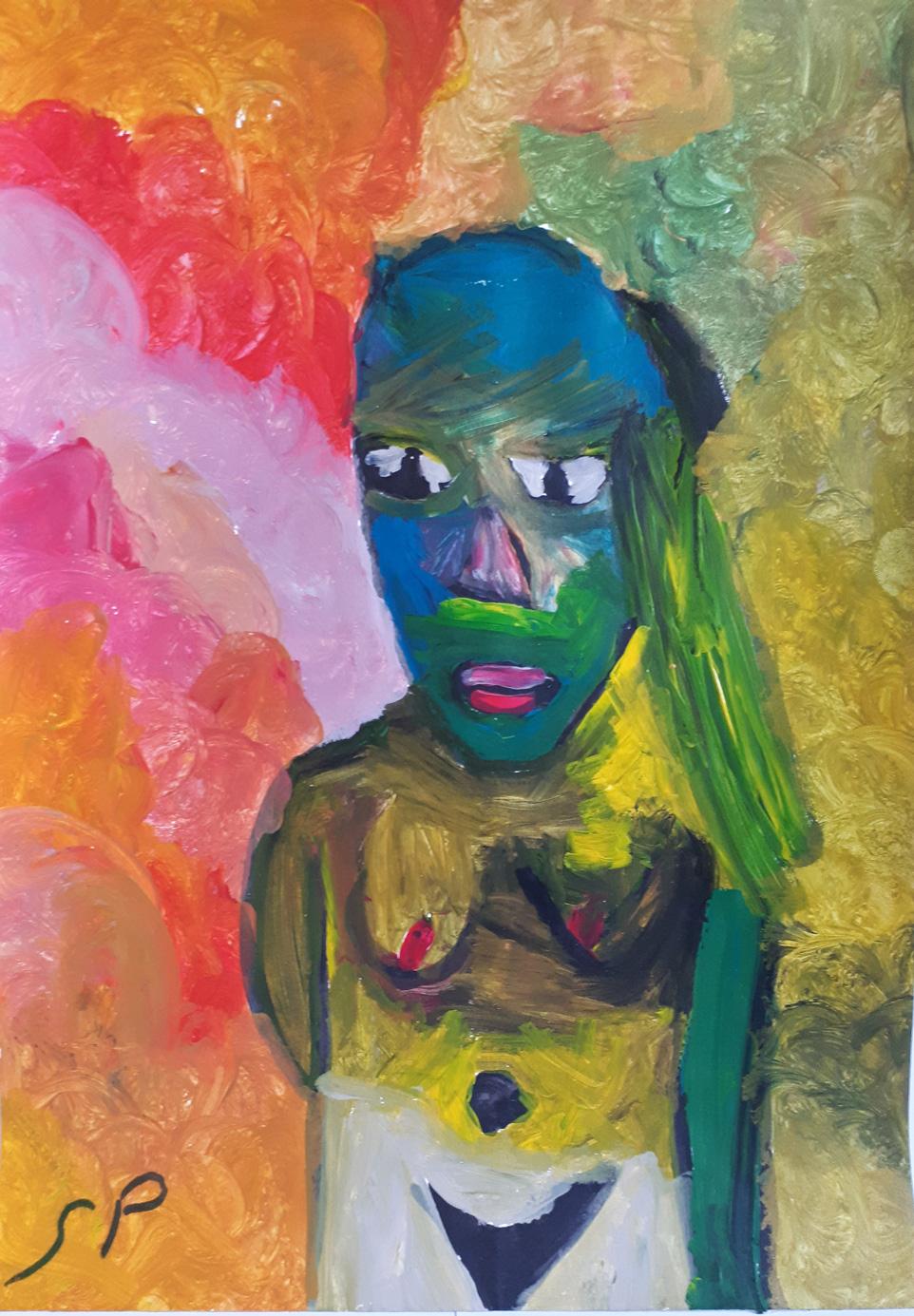 Sébastien Proust, Femme africaine, Acryl sur toile, 30x42, ND