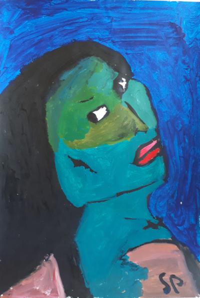 Sébastien Proust, Femme bleue, Acryl sur toile, 30x42, ND