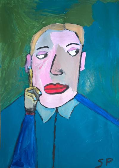 Sébastien Proust, Homme penseur Interdictions, Acrylique sur papier, 2015