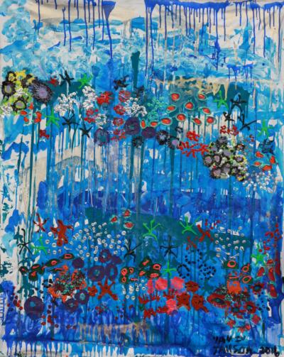 Yaniv Janson. A happy sea, diptych, Acrylique sur toile 120x160, 2017